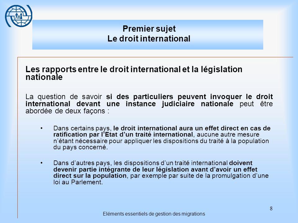 8 Eléments essentiels de gestion des migrations Premier sujet Le droit international Les rapports entre le droit international et la législation natio