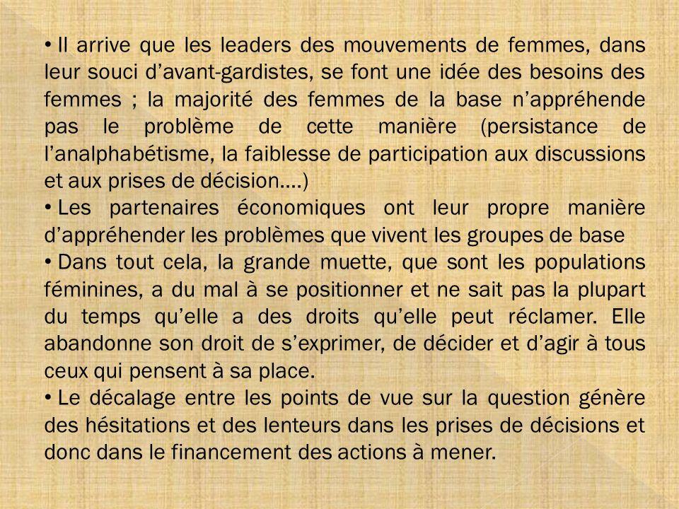 Il arrive que les leaders des mouvements de femmes, dans leur souci davant-gardistes, se font une idée des besoins des femmes ; la majorité des femmes