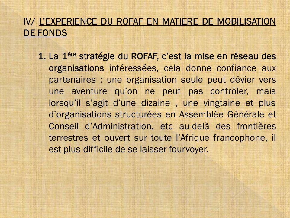 IV/ LEXPERIENCE DU ROFAF EN MATIERE DE MOBILISATION DE FONDS 1.La 1 ère stratégie du ROFAF, cest la mise en réseau des organisations intéressées, cela