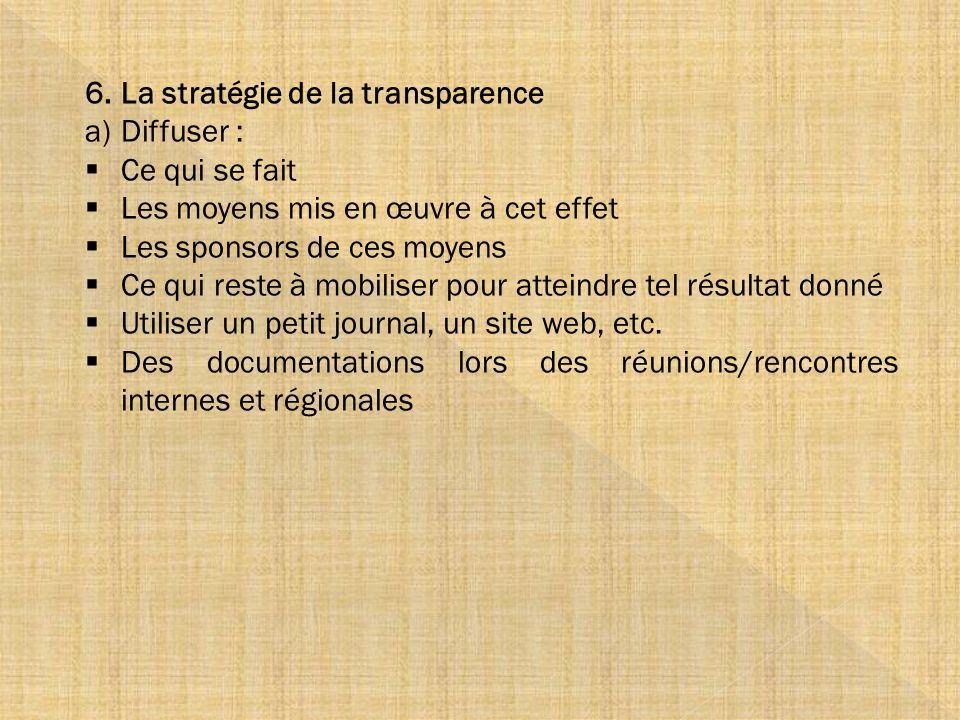 6.La stratégie de la transparence a)Diffuser : Ce qui se fait Les moyens mis en œuvre à cet effet Les sponsors de ces moyens Ce qui reste à mobiliser