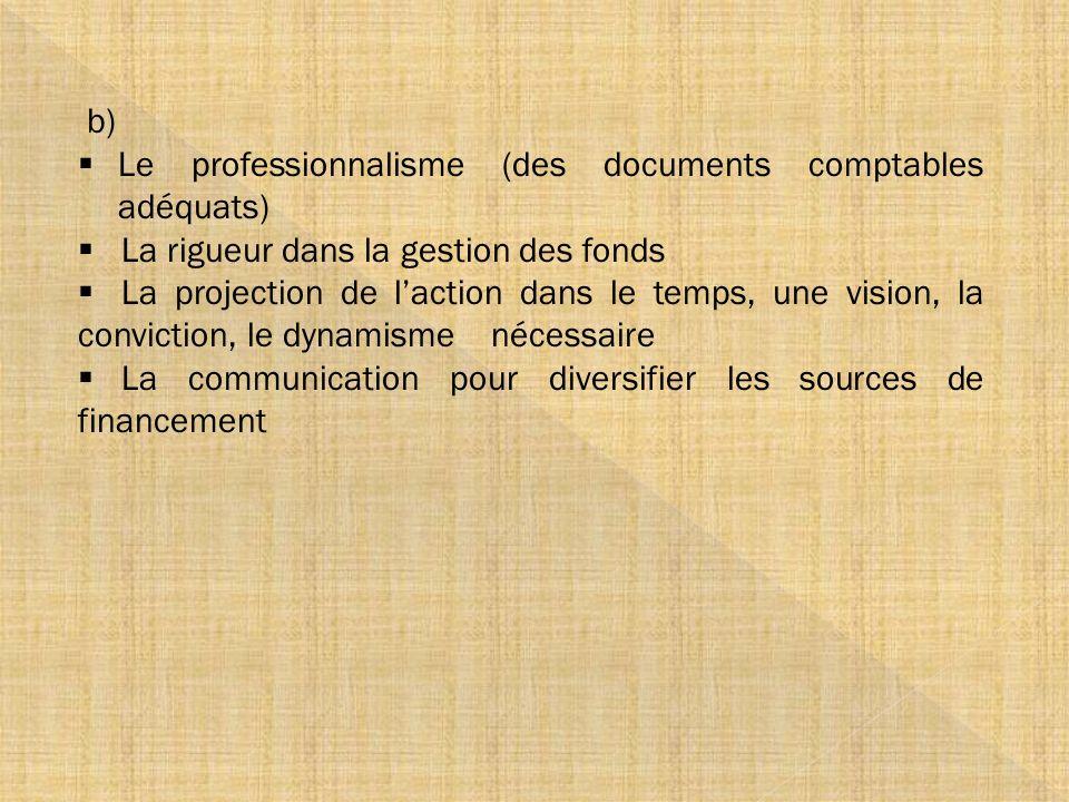 b) Le professionnalisme (des documents comptables adéquats) La rigueur dans la gestion des fonds La projection de laction dans le temps, une vision, l