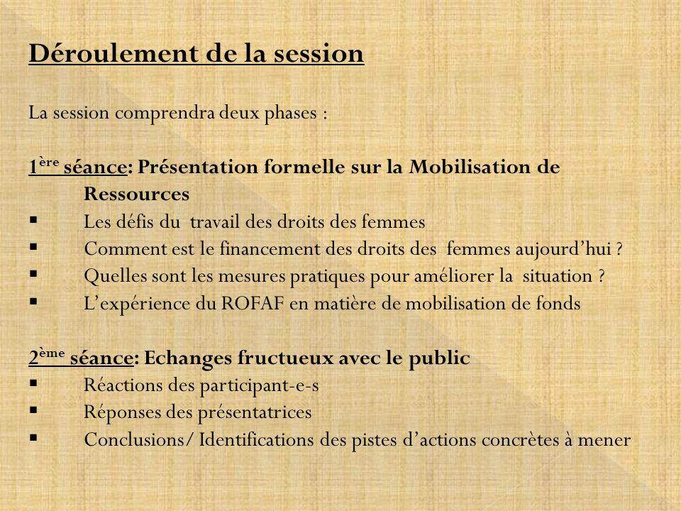 Déroulement de la session La session comprendra deux phases : 1 ère séance: Présentation formelle sur la Mobilisation de Ressources Les défis du trava