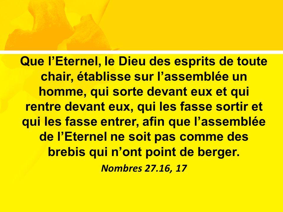 Que lEternel, le Dieu des esprits de toute chair, établisse sur lassemblée un homme, qui sorte devant eux et qui rentre devant eux, qui les fasse sort