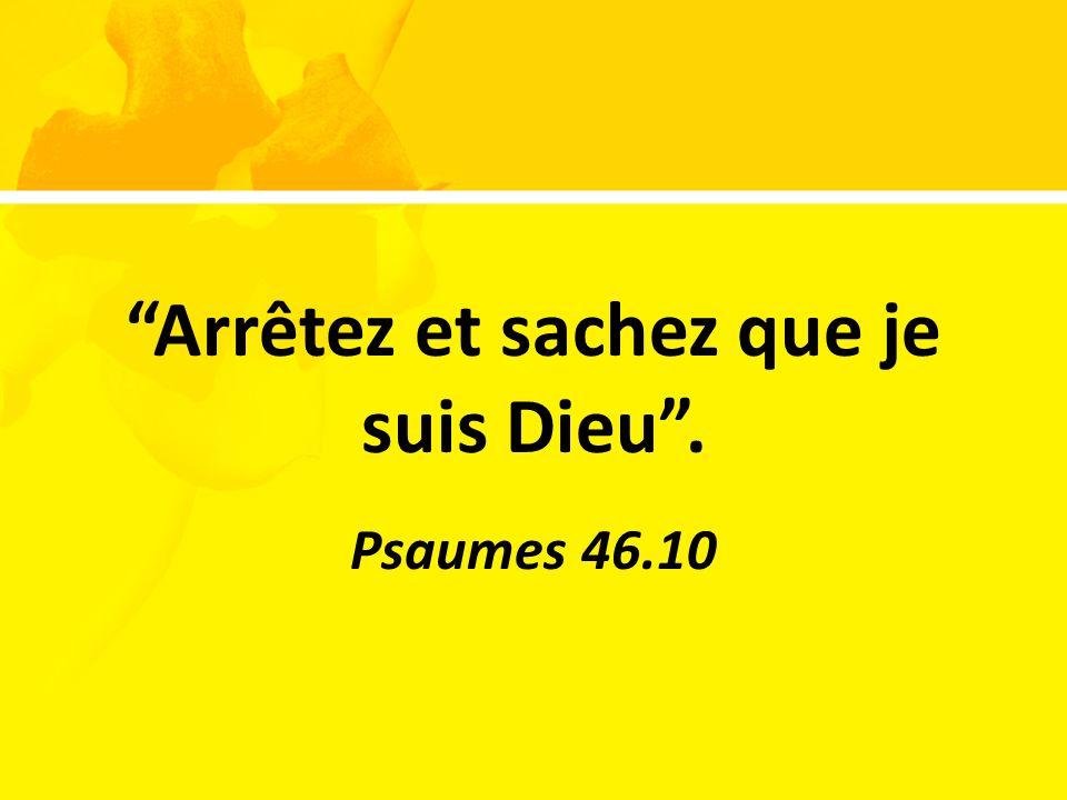 Arrêtez et sachez que je suis Dieu. Psaumes 46.10