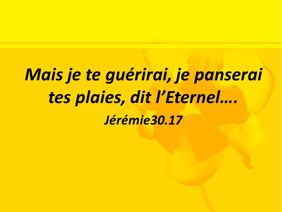 Mais je te guérirai, je panserai tes plaies, dit lEternel…. Jérémie30.17