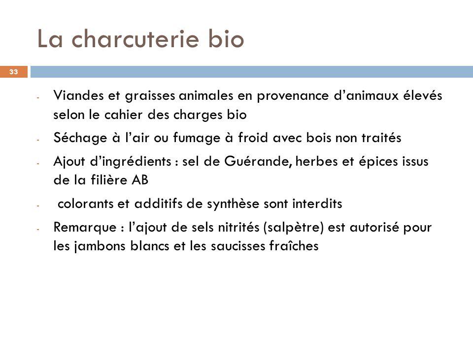 Poissons délevage label bio : frais et surgelés, le cahier des charges français date de lan 2000 Sites de production sélectionnés dans eaux sans pollutions et obligation pour léleveur de protéger la qualité de leau (auto- épuration, capacité de production limitée à 100 tonnes/an) Les poissons sont élevés dans dimmenses cages flottantes ou dans des bassins (densité maximale : 35 kg / m3 (contre 100 kg en non bio)) Alimentation : 40 % de farines de poissons; 30 % dhuiles de poissons et 30 % de produits végétaux (oléagineux et protéagineux) ; ingrédients en provenance de pêches despèces gérées par quota, ou de chutes de poissons destinées à lalimentation humaine ou de « poissons fourrage » élevés en bio, la part végétale est100 % biologique Sont interdits (autorisés en non bio) : stimulateurs de croissance, additifs médicamenteux, colorants, hormones) Prévention des maladies : Q ualité des eaux, intégrité physique du poisson, qualité de lalimentation, adjonction dhuiles essentielles bio dans lalimentation.