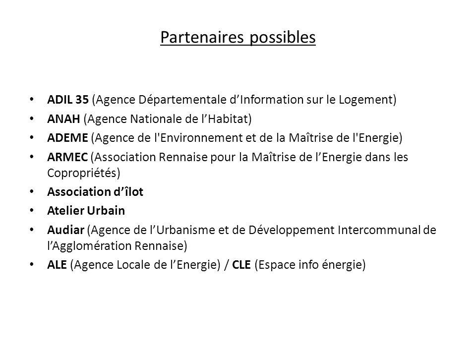Partenaires possibles ADIL 35 (Agence Départementale dInformation sur le Logement) ANAH (Agence Nationale de lHabitat) ADEME (Agence de l'Environnemen