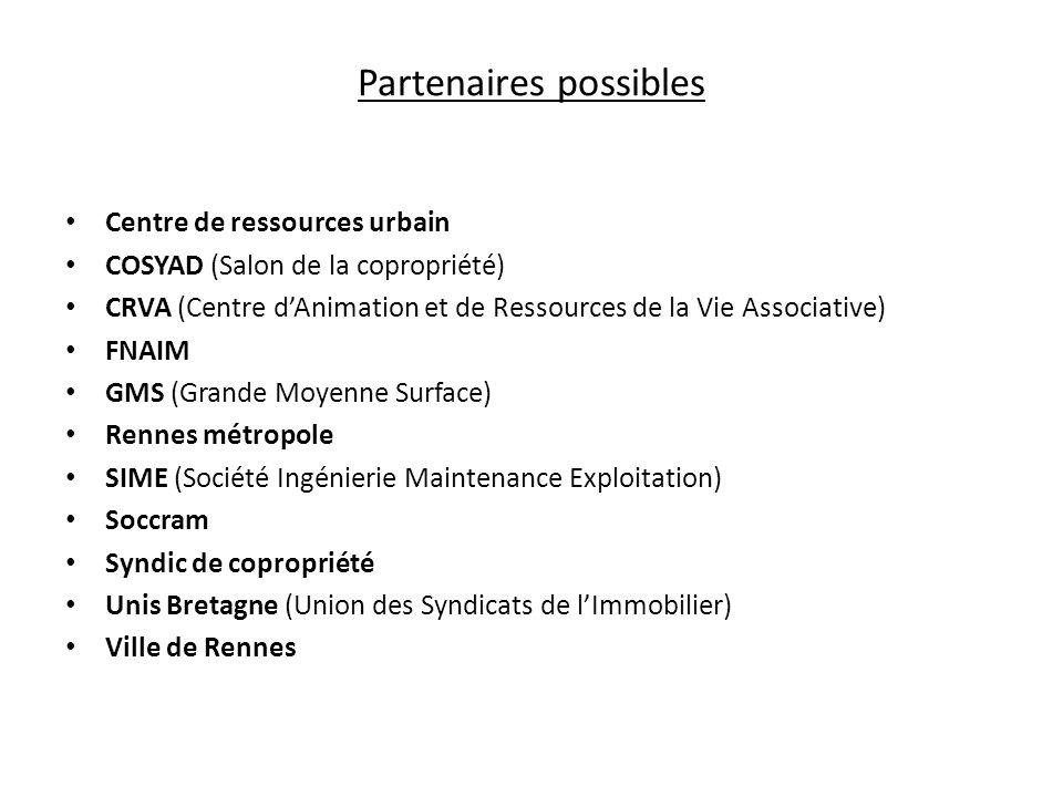 Partenaires possibles Centre de ressources urbain COSYAD (Salon de la copropriété) CRVA (Centre dAnimation et de Ressources de la Vie Associative) FNA