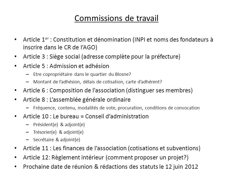 Commissions de travail Article 1 er : Constitution et dénomination (INPI et noms des fondateurs à inscrire dans le CR de lAGO) Article 3 : Siège socia