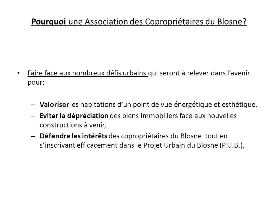 Pourquoi une Association des Copropriétaires du Blosne? Faire face aux nombreux défis urbains qui seront à relever dans lavenir pour: – Valoriser les