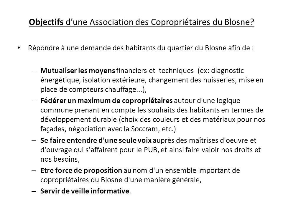 Objectifs dune Association des Copropriétaires du Blosne? Répondre à une demande des habitants du quartier du Blosne afin de : – Mutualiser les moyens