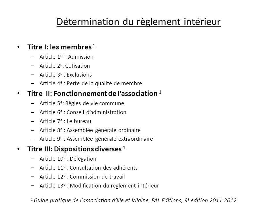 Détermination du règlement intérieur Titre I: les membres 1 – Article 1 er : Admission – Article 2 e : Cotisation – Article 3 e : Exclusions – Article