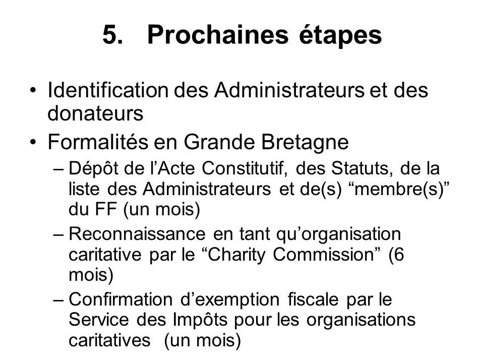 5. Prochaines étapes Identification des Administrateurs et des donateurs Formalités en Grande Bretagne –Dépôt de lActe Constitutif, des Statuts, de la