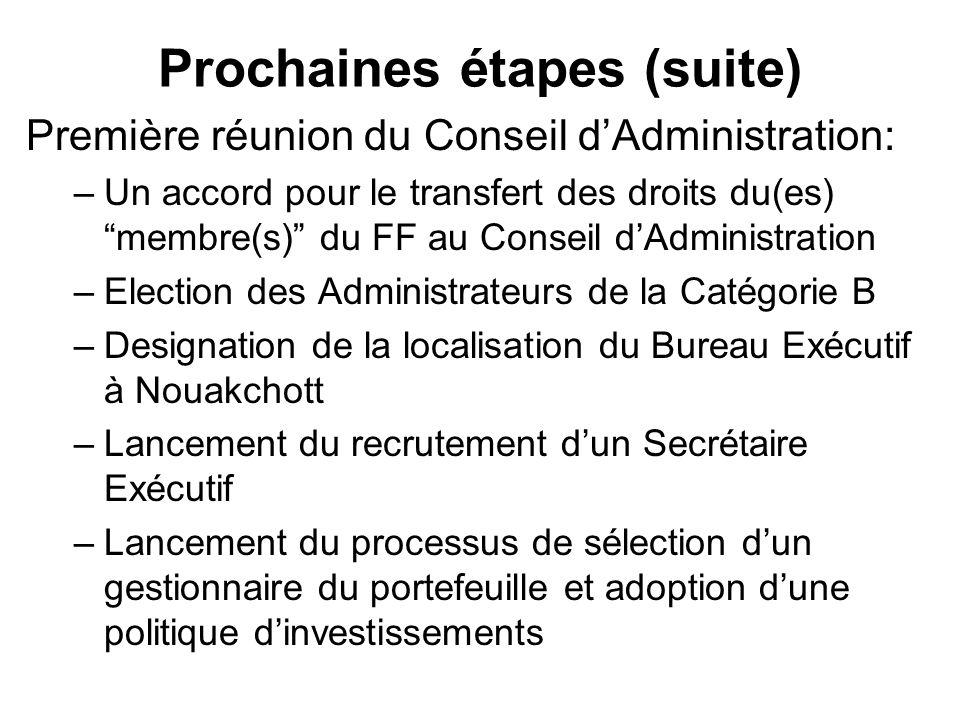 Prochaines étapes (suite) Première réunion du Conseil dAdministration: –Un accord pour le transfert des droits du(es) membre(s) du FF au Conseil dAdmi