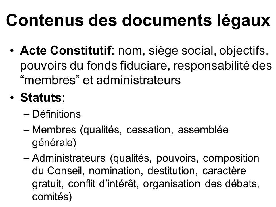 Contenus des documents légaux Acte Constitutif: nom, siège social, objectifs, pouvoirs du fonds fiduciare, responsabilité des membres et administrateu