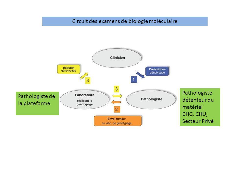 Pathologiste de la plateforme Pathologiste détenteur du matériel CHG, CHU, Secteur Privé Circuit des examens de biologie moléculaire