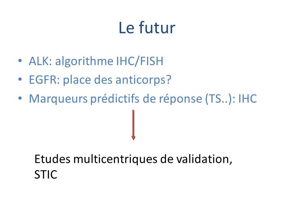 Le futur ALK: algorithme IHC/FISH EGFR: place des anticorps? Marqueurs prédictifs de réponse (TS..): IHC Etudes multicentriques de validation, STIC