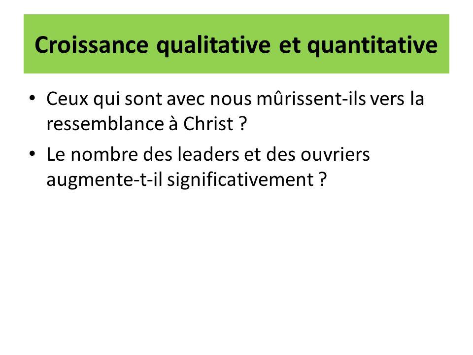 Croissance qualitative et quantitative Ceux qui sont avec nous mûrissent-ils vers la ressemblance à Christ ? Le nombre des leaders et des ouvriers aug