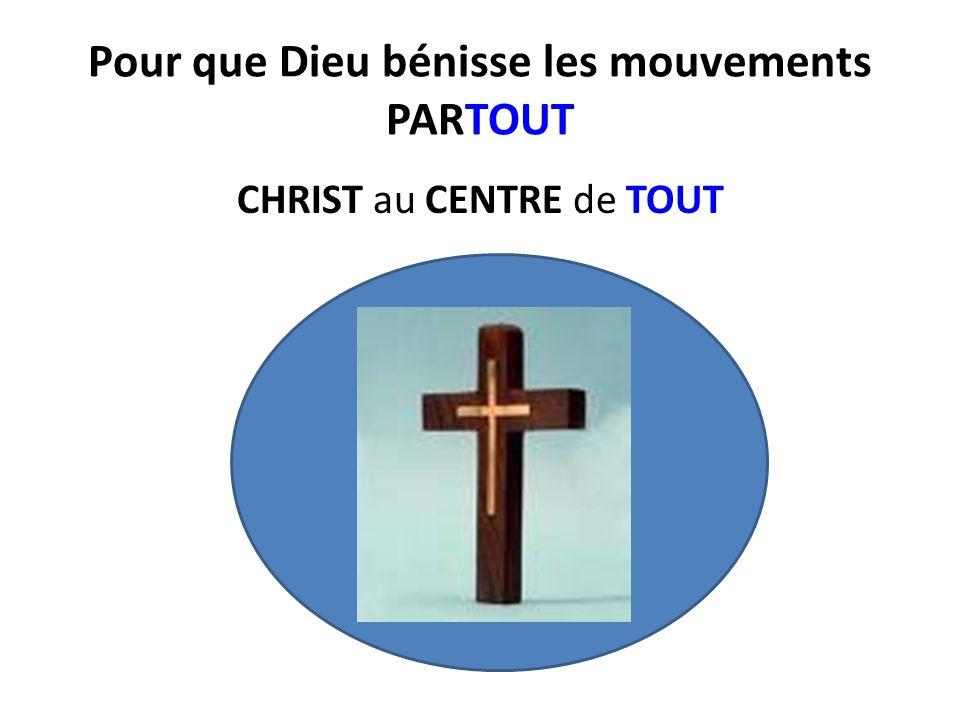 Pour que Dieu bénisse les mouvements PARTOUT CHRIST au CENTRE de TOUT