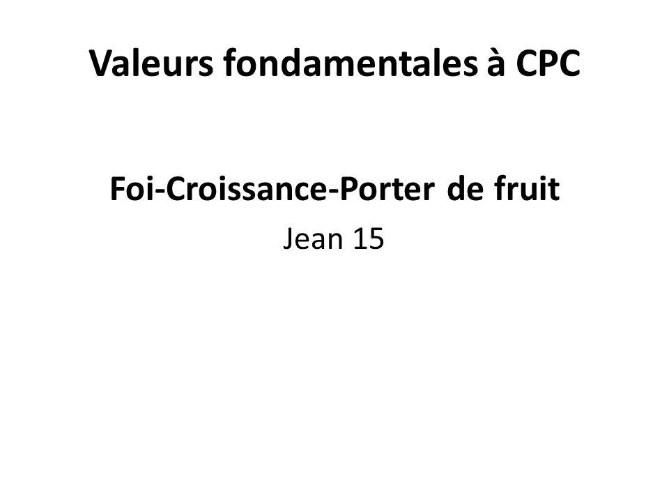 Valeurs fondamentales à CPC Foi-Croissance-Porter de fruit Jean 15