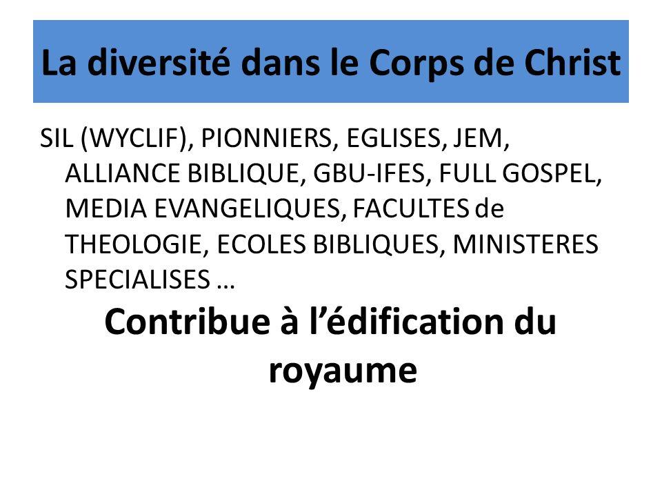 La diversité dans le Corps de Christ SIL (WYCLIF), PIONNIERS, EGLISES, JEM, ALLIANCE BIBLIQUE, GBU-IFES, FULL GOSPEL, MEDIA EVANGELIQUES, FACULTES de