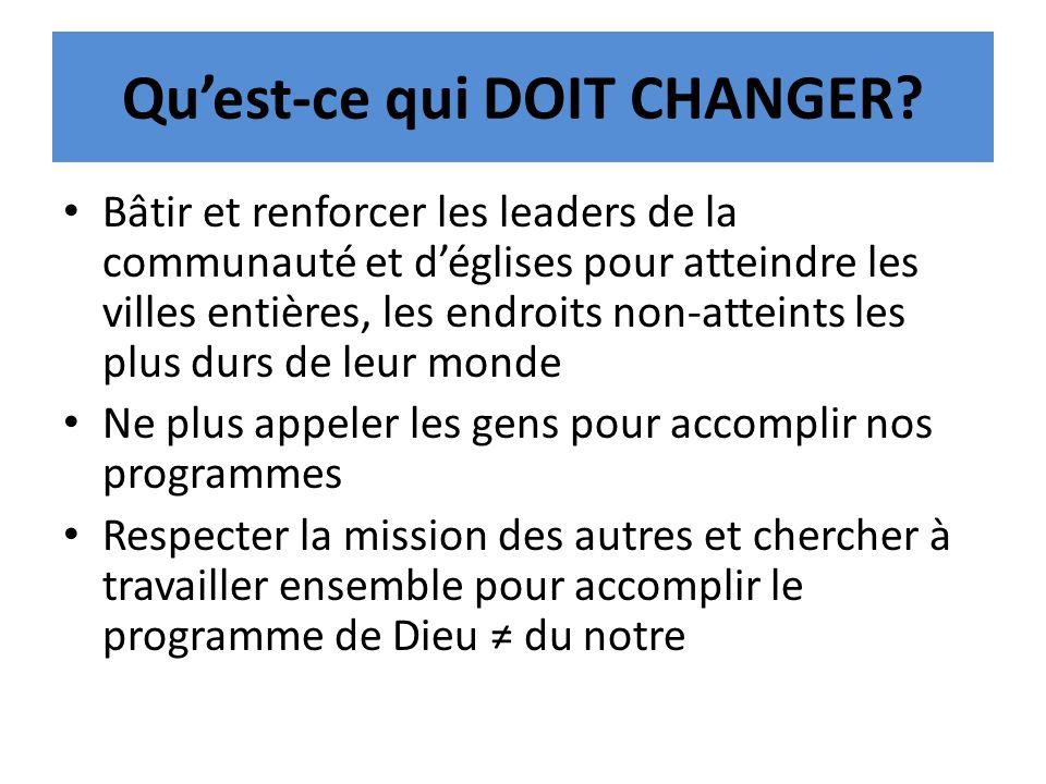 Quest-ce qui DOIT CHANGER? Bâtir et renforcer les leaders de la communauté et déglises pour atteindre les villes entières, les endroits non-atteints l
