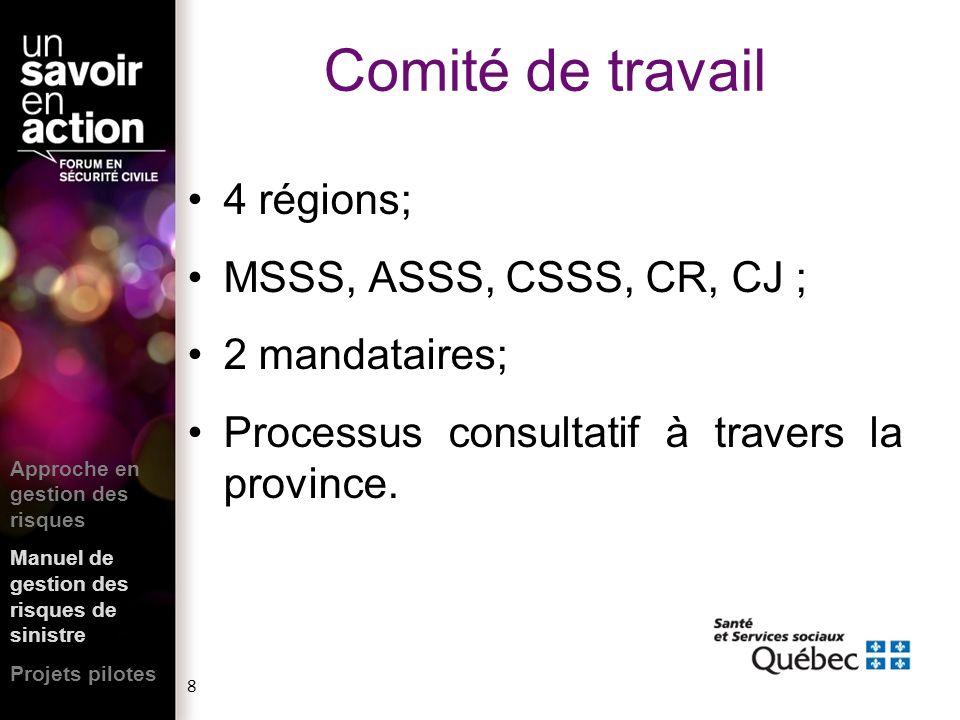 8 4 régions; MSSS, ASSS, CSSS, CR, CJ ; 2 mandataires; Processus consultatif à travers la province. Approche en gestion des risques Manuel de gestion