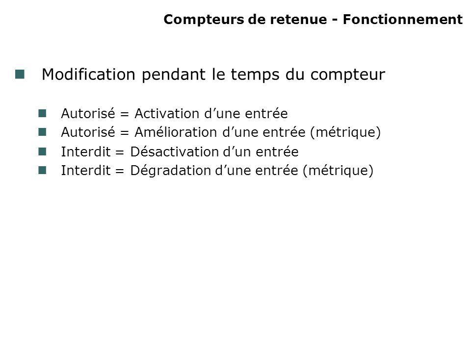 Compteurs de retenue - Fonctionnement Modification pendant le temps du compteur Autorisé = Activation dune entrée Autorisé = Amélioration dune entrée