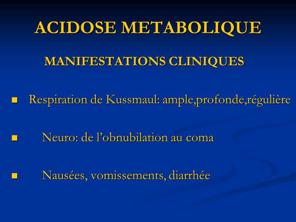 ACIDOSE METABOLIQUE MANIFESTATIONS CLINIQUES MANIFESTATIONS CLINIQUES Respiration de Kussmaul: ample,profonde,régulière Respiration de Kussmaul: ample