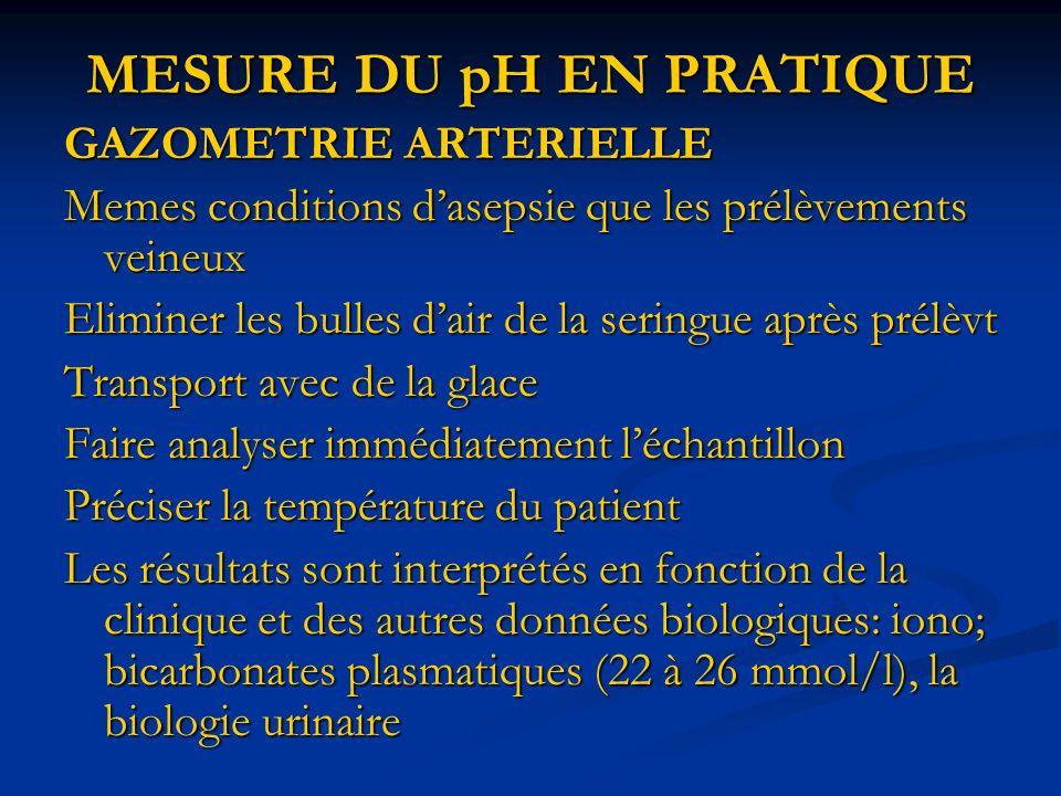 MESURE DU pH EN PRATIQUE GAZOMETRIE ARTERIELLE Memes conditions dasepsie que les prélèvements veineux Eliminer les bulles dair de la seringue après pr