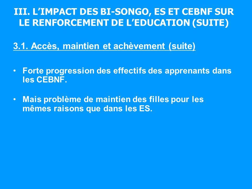 III. LIMPACT DES BI-SONGO, ES ET CEBNF SUR LE RENFORCEMENT DE LEDUCATION (SUITE) 3.1. Accès, maintien et achèvement (suite) Forte progression des effe