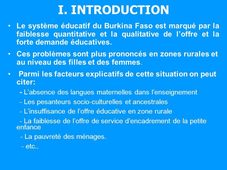 I. INTRODUCTION Le système éducatif du Burkina Faso est marqué par la faiblesse quantitative et la qualitative de loffre et la forte demande éducative