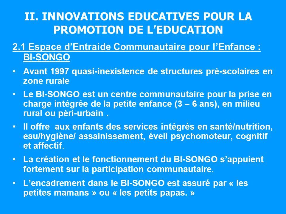 II. INNOVATIONS EDUCATIVES POUR LA PROMOTION DE LEDUCATION 2.1 Espace dEntraide Communautaire pour lEnfance : BI-SONGO Avant 1997 quasi-inexistence de