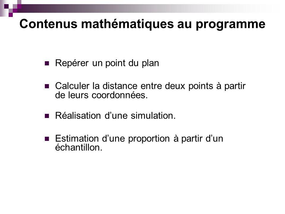 Repérer un point du plan Calculer la distance entre deux points à partir de leurs coordonnées. Réalisation dune simulation. Estimation dune proportion