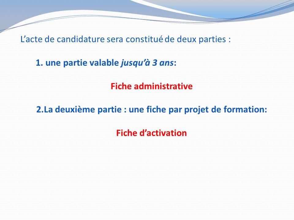 Lacte de candidature sera constitué de deux parties : 1.