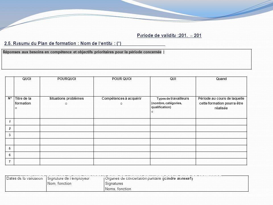 Réponses aux besoins en compétence et objectifs prioritaires pour la période concernée : QUOIPOURQUOI QUIQuand N° Titre de la formation o Situations problèmes o Compétences à acquérir o Types de travailleurs (nombre, catégories, qualification) o Période au cours de laquelle cette formation pourra être réalisée 1 2 3 5 6 7 Dates de la validationSignature de lemployeur Nom, fonction Organes de concertation paritaire (joindre annexe1) Signatures Noms, fonction 2.5.