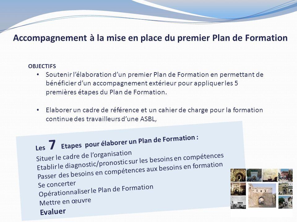 OBJECTIFS Soutenir lélaboration dun premier Plan de Formation en permettant de bénéficier dun accompagnement extérieur pour appliquer les 5 premières étapes du Plan de Formation.