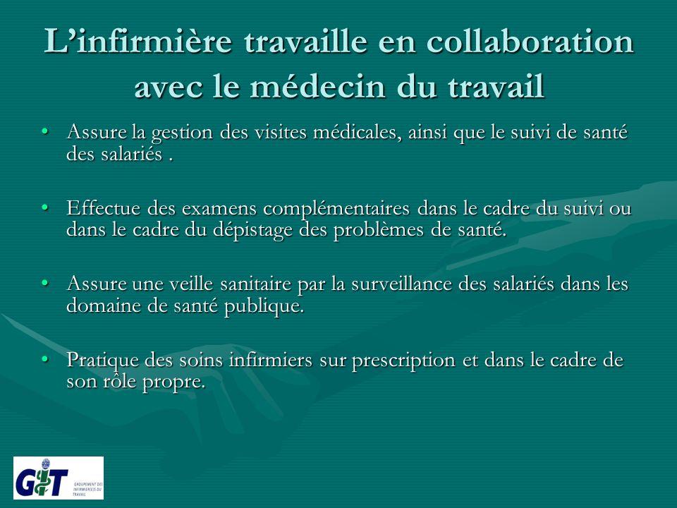 Linfirmière travaille en collaboration avec le médecin du travail Assure la gestion des visites médicales, ainsi que le suivi de santé des salariés.As