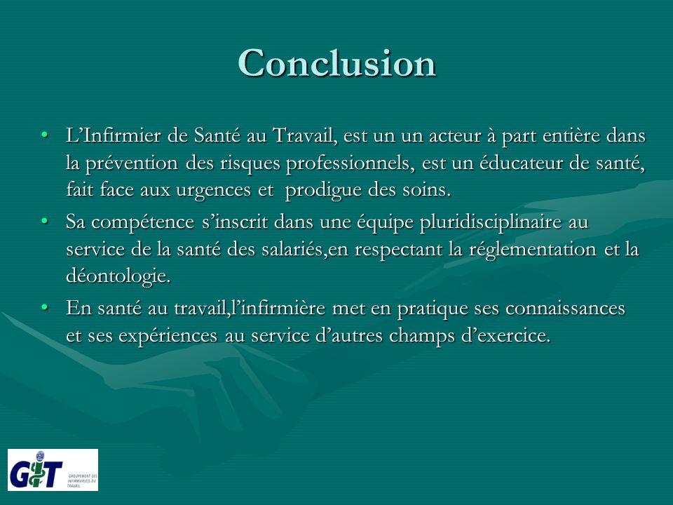 Conclusion LInfirmier de Santé au Travail, est un un acteur à part entière dans la prévention des risques professionnels, est un éducateur de santé, f