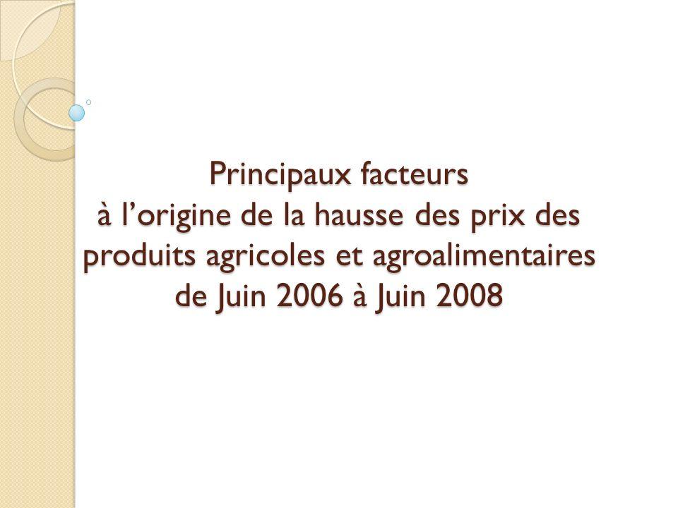 Principaux facteurs à lorigine de la hausse des prix des produits agricoles et agroalimentaires de Juin 2006 à Juin 2008