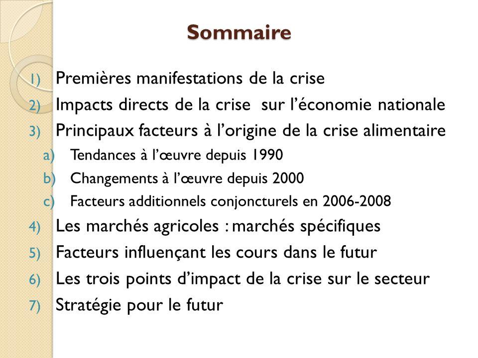 Sommaire 1) Premières manifestations de la crise 2) Impacts directs de la crise sur léconomie nationale 3) Principaux facteurs à lorigine de la crise