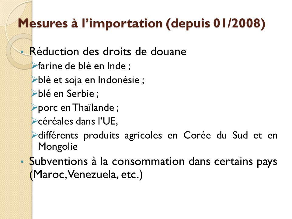 Mesures à limportation (depuis 01/2008) Réduction des droits de douane farine de blé en Inde ; blé et soja en Indonésie ; blé en Serbie ; porc en Thaï