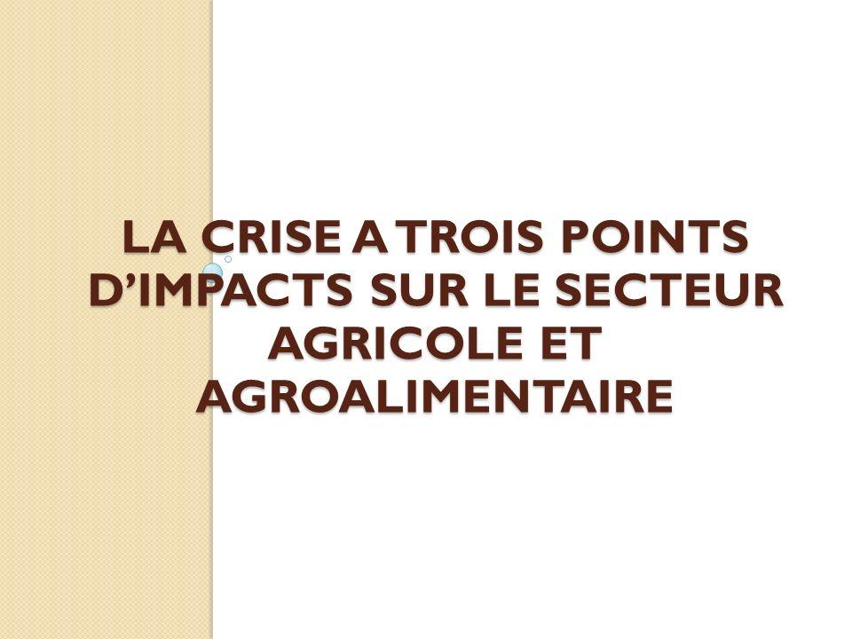 LA CRISE A TROIS POINTS DIMPACTS SUR LE SECTEUR AGRICOLE ET AGROALIMENTAIRE
