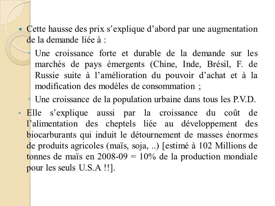Cette hausse des prix sexplique dabord par une augmentation de la demande liée à : Une croissance forte et durable de la demande sur les marchés de pa