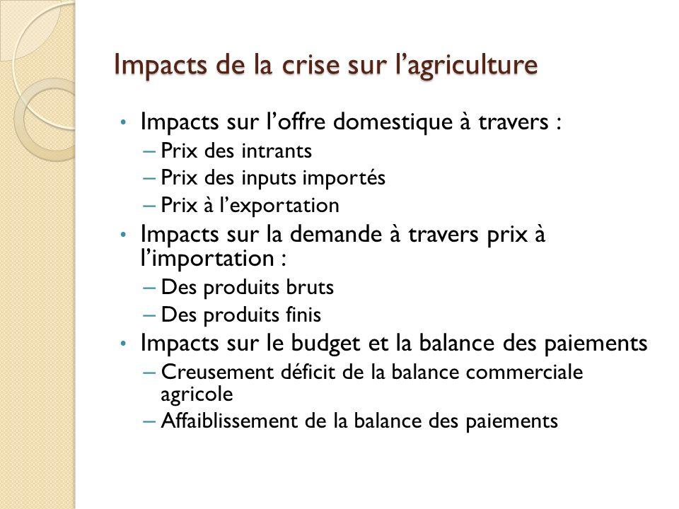 Impacts de la crise sur lagriculture Impacts sur loffre domestique à travers : – Prix des intrants – Prix des inputs importés – Prix à lexportation Im