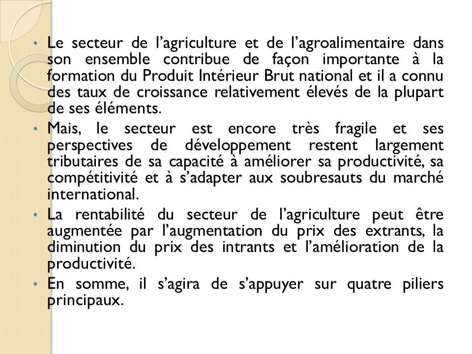 Le secteur de lagriculture et de lagroalimentaire dans son ensemble contribue de façon importante à la formation du Produit Intérieur Brut national et