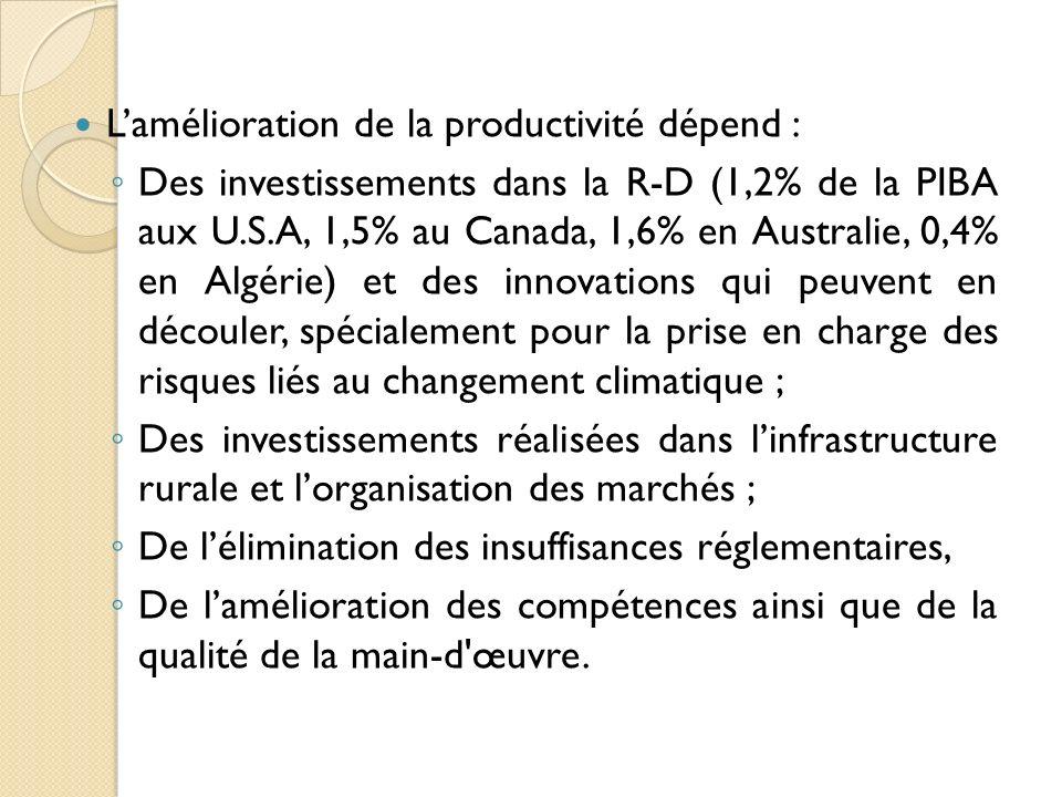 Lamélioration de la productivité dépend : Des investissements dans la R-D (1,2% de la PIBA aux U.S.A, 1,5% au Canada, 1,6% en Australie, 0,4% en Algér