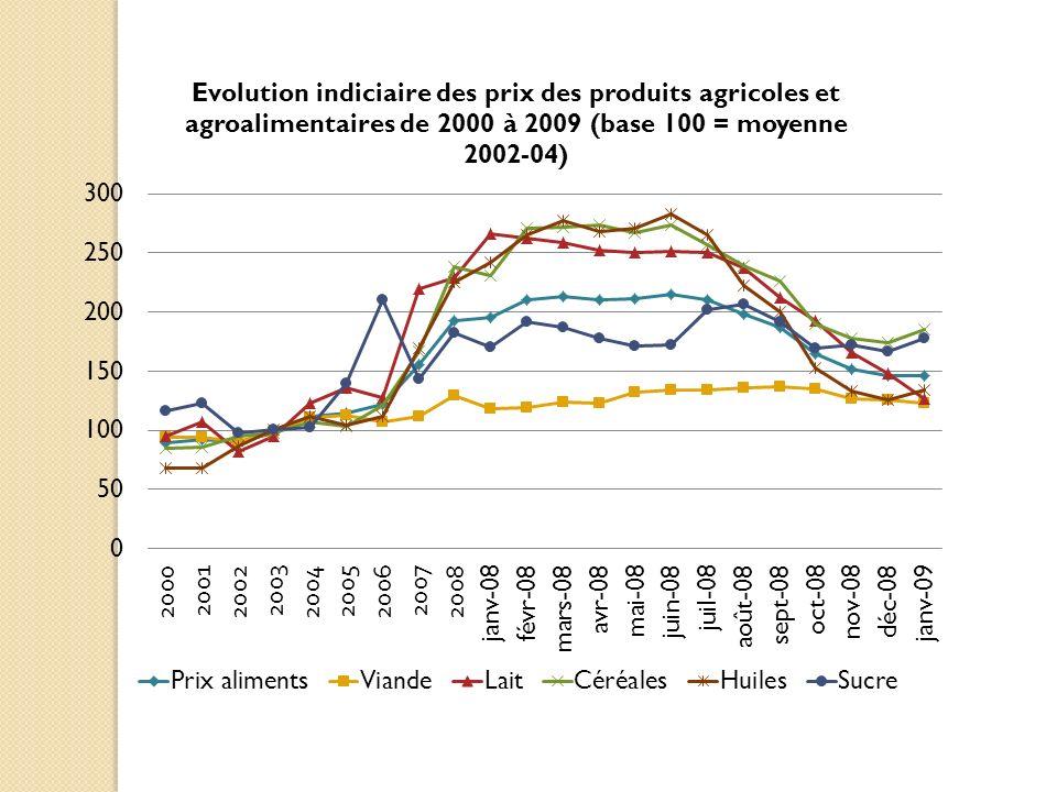 Mesures à limportation (depuis 01/2008) Réduction des droits de douane farine de blé en Inde ; blé et soja en Indonésie ; blé en Serbie ; porc en Thaïlande ; céréales dans lUE, différents produits agricoles en Corée du Sud et en Mongolie Subventions à la consommation dans certains pays (Maroc, Venezuela, etc.)