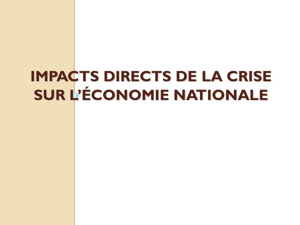 IMPACTS DIRECTS DE LA CRISE SUR LÉCONOMIE NATIONALE
