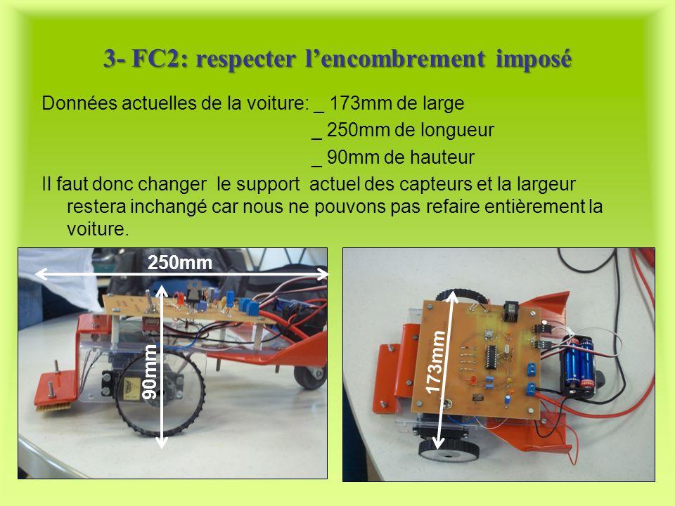 3- FC2: respecter lencombrement imposé Données actuelles de la voiture: _ 173mm de large _ 250mm de longueur _ 90mm de hauteur Il faut donc changer le